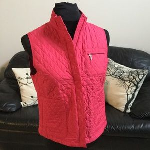 Talbots Petites Quilted Pink Vest